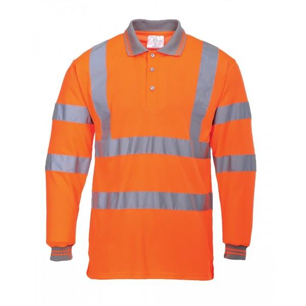 Hi-Vis Long Sleeved Polo Shirt Orange