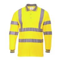 Hi-Vis Long Sleeved Polo Shirt Yellow